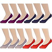MANZI Women's 12 Pairs Anti Slip Silky Low Cut Liner No Show Hidden Boat Socks