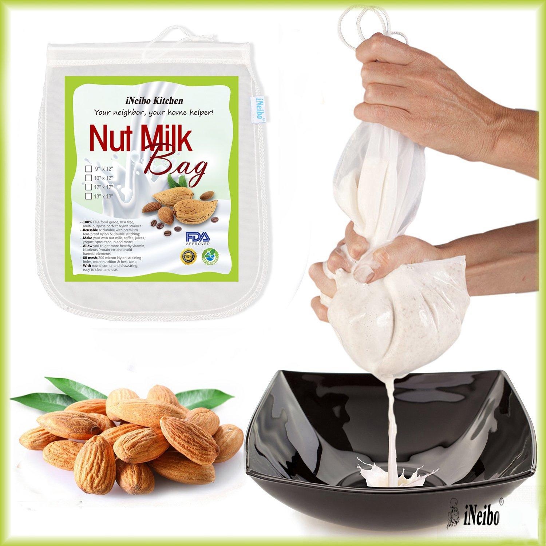 iNeibo Bolsa de leche de nuez, tela de filtración hecha de nailon resistente al desgarro. Juego de 2: 33x33cm: Amazon.es: Hogar