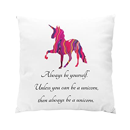 Sokiiy Unicorn with Cute Saying on It Plush Hidden Zipper Home Sofa Decorative Throw Pillow Cover Cushion Case Square 20x20 Inch Two Sides Design ...