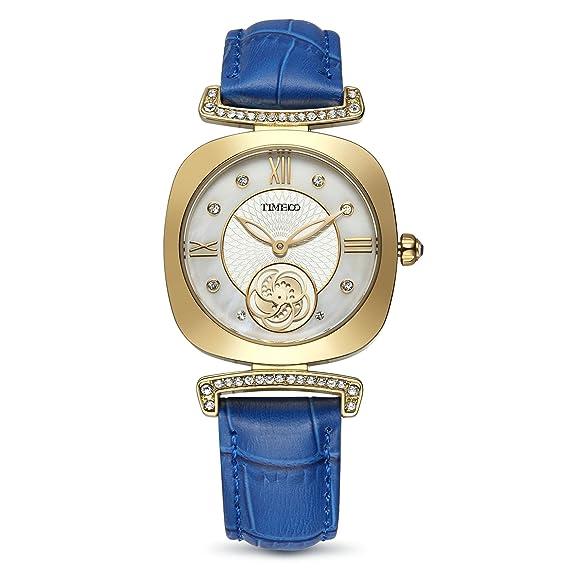 Time100 reloj cuarzo mujer reloj cuadrado con la correa piel esfera con diamantes destello de la