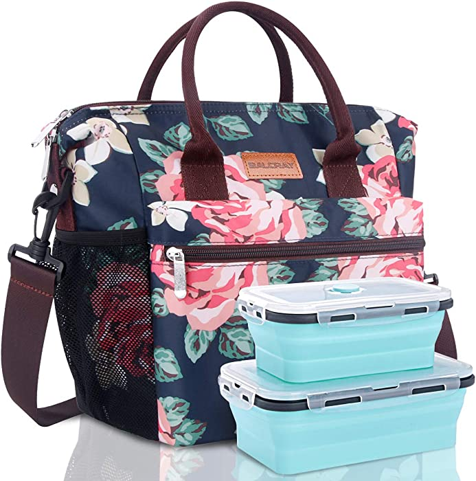 BALORAY Large Lunch Bag for Women with Food Containers Detachable Shoulder Strap Leakproof Insulated Lunch Bag Lunch Tote Bag (Dark Blue with Flower)
