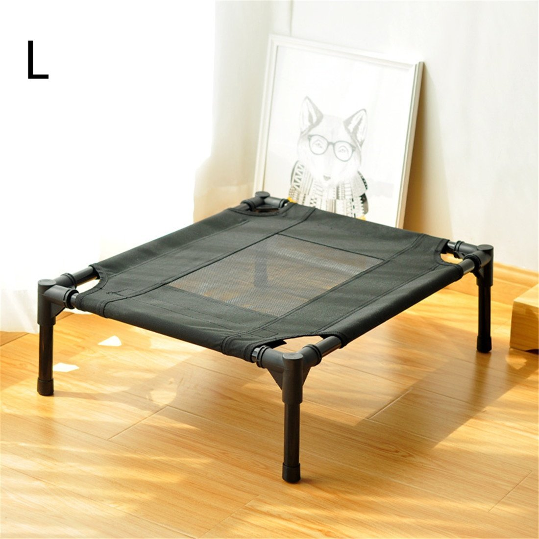L CHWWO Elevated pet Bed Assembly Portable Waterproof Outdoor Camping Raise The Dog Bed AntiRust Steel Pipe PVC Breathable mesh Removable and Washable, L