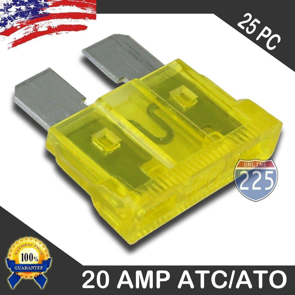 25 Pack 20 AMP ATC//ATO Standard Regular Fuse Blade 20A Car Truck Boat Marine RV