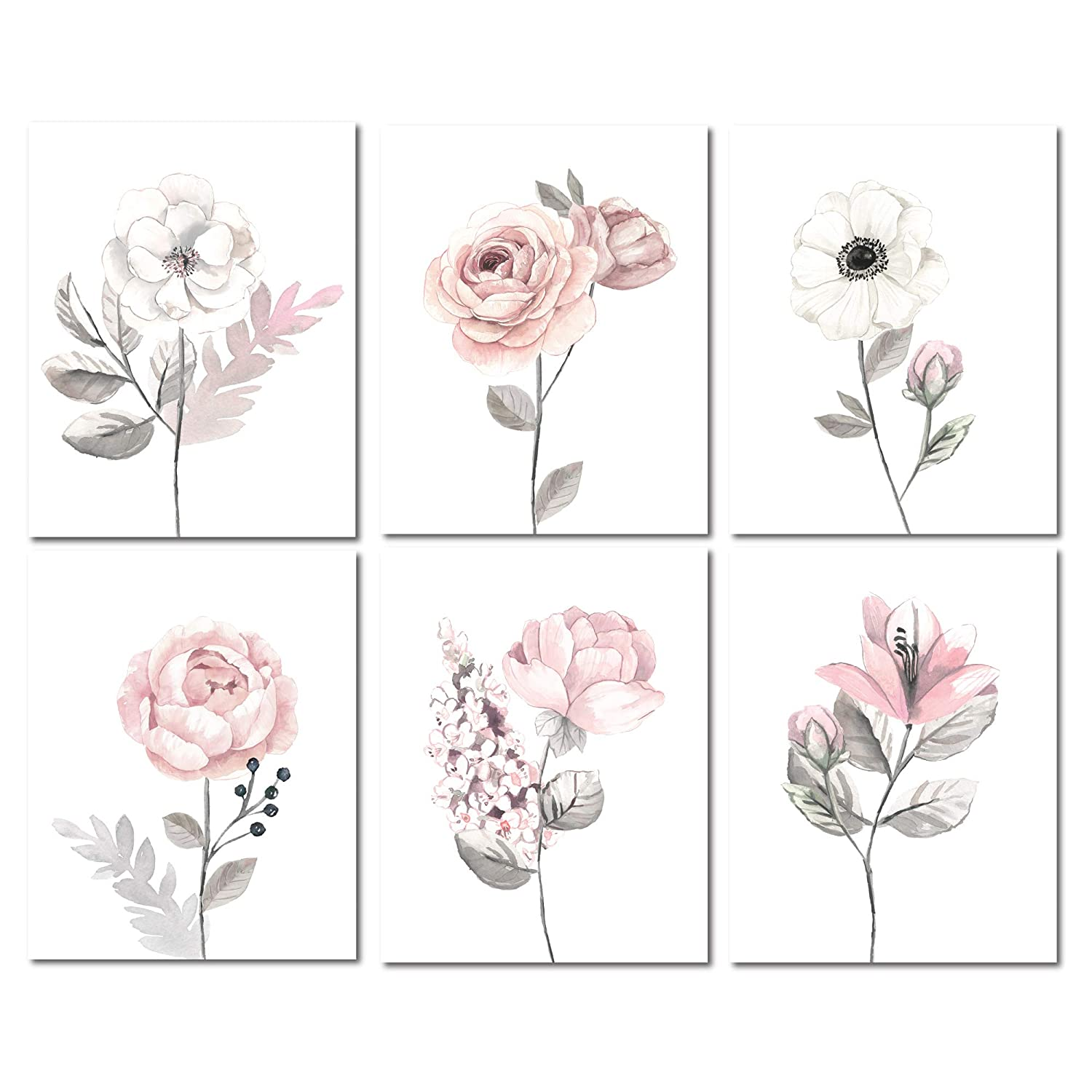 Lambs & Ivy Watercolor Floral Unframed Baby Nursery Child Wall Art - Pink/Gray