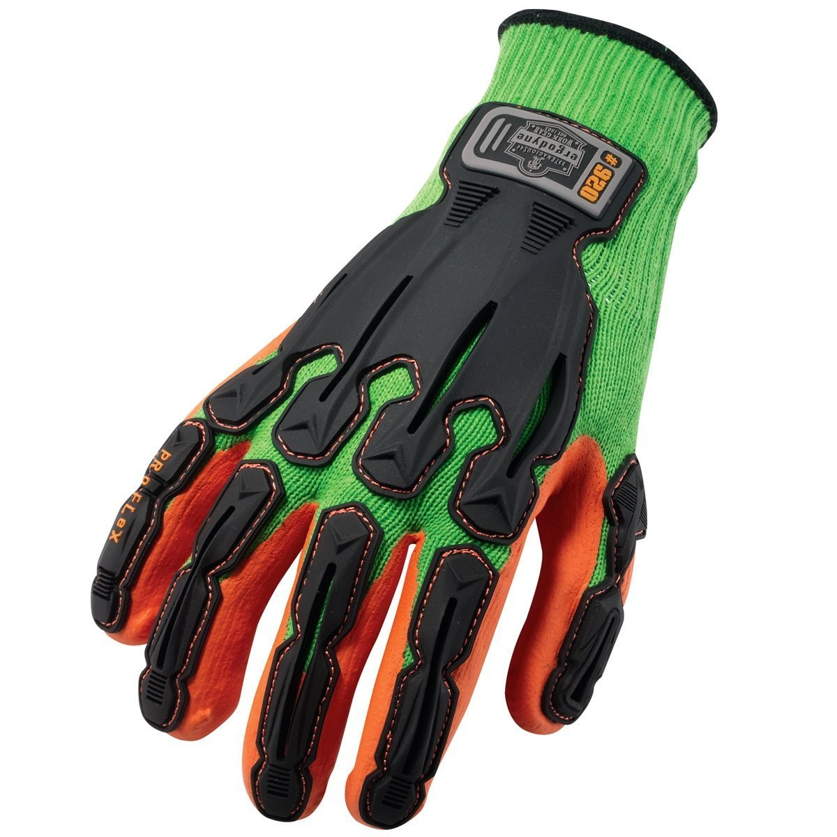 Ergodyne ProFlex 920 Nitrile-Dipped Impact-Reducing Work Gloves, X-Large, Lime