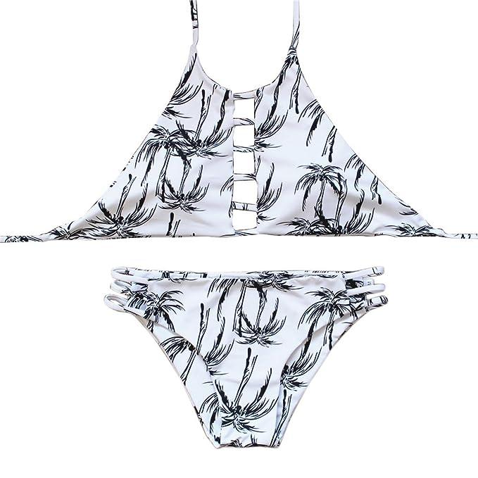 11ecf41211 JIANLANPTT Women High Neck Tropical Palm Print Tank Bikini Set Strappy  Swimsuit S White