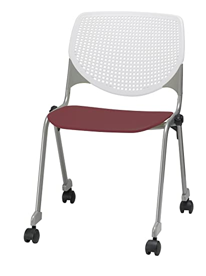 Superieur KFI Seating Poly Stack Chair With Casters And Perforated Burgundy Seat And  White Back