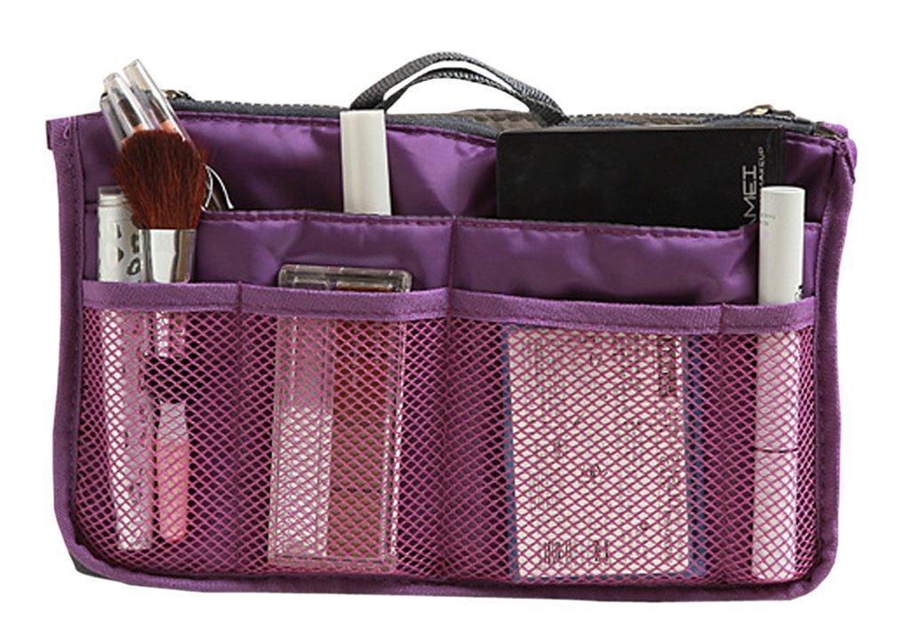 Nylon Handbag Insert Comestic Gadget Purse Organizer, Expandable w/ Handles (Purple)