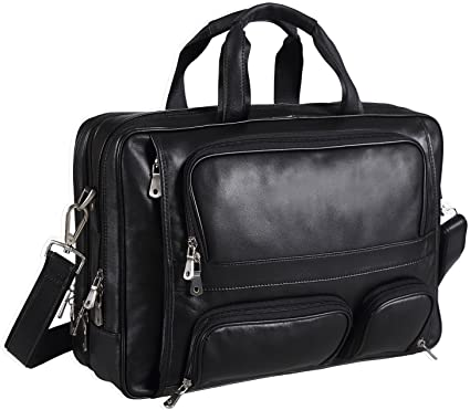 Amazon.com: Polare Real Leather 17''Laptop Carry On Overnight Bag ...