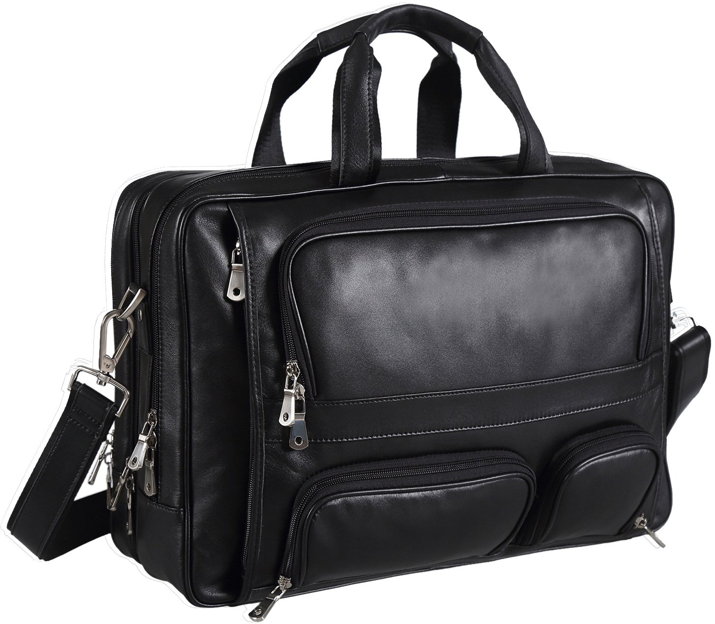 Polare Real Leather 17''Laptop Carry On Overnight Bag Business Briefcase Large For Men by Polare