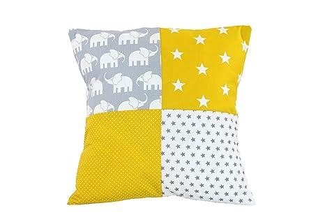 Funda patchwork para cojín de ULLENBOOM ® con elefantes amarillo (funda para cojín de 40 x 40 cm; 100% algodón; ideal como cojín decorativo para la ...