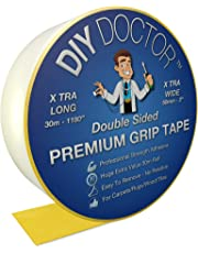 DIY Doctor - Xtra Strong Xtra Wide Double Sided Carpet Rug Gripper Tape - Ultimate Grip Strength - Bonds to Almost Anything But Leaves No Marks - for Home and Professional Use