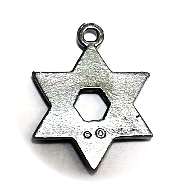 Pewter Star of David Charms on Hypoallergenic Ball Post Stud Earrings