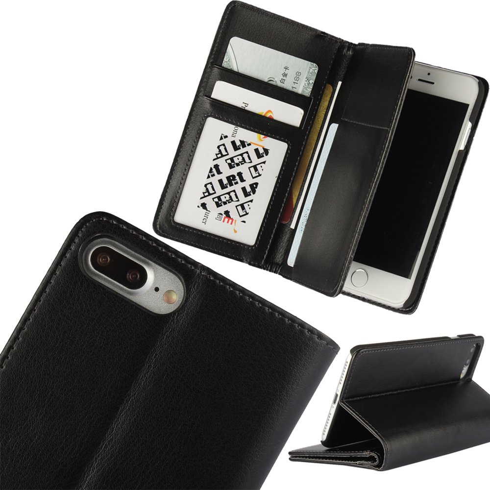 LefRight Wallet Flip Case for iPhone 7 Plus(5.5 inch), Synthetic Leather Credit Card Cash Holder Stand Folio Cover, Black