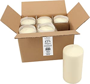 Stonebriar Tall 3 x 6 Inch Unscented Ivory Pillar Candle Set, Set of 6, 3x6
