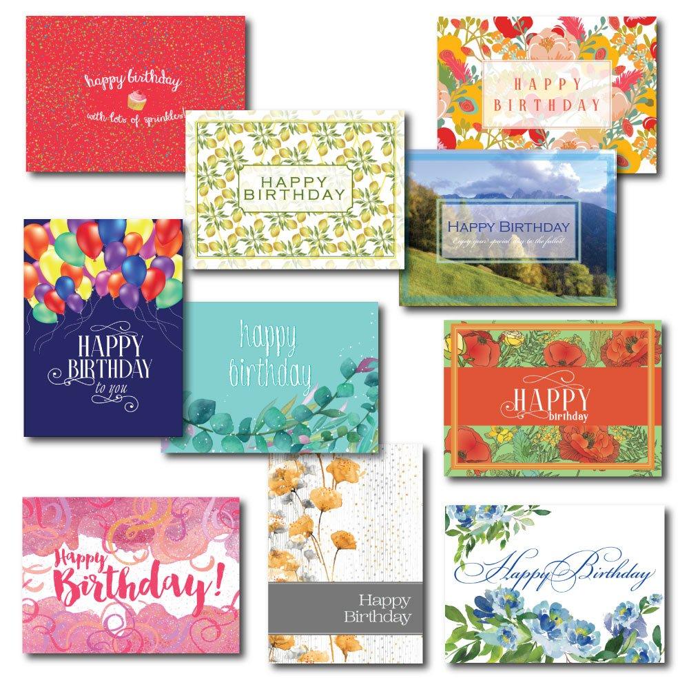 Ten Contemporary Design Birthday Card Assortment, 30 Birthday Cards & 31 Envelopes