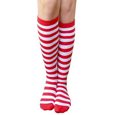 AM Landen Women's Casual White and Red Small Stripes Knee High Socks Girls socks: Clothing