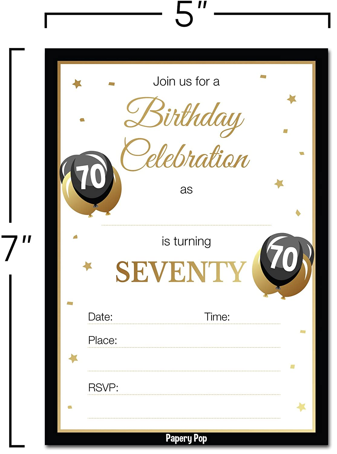 Amazon.com: 70th Birthday Invitations with Envelopes (30 Count) - 70 ...