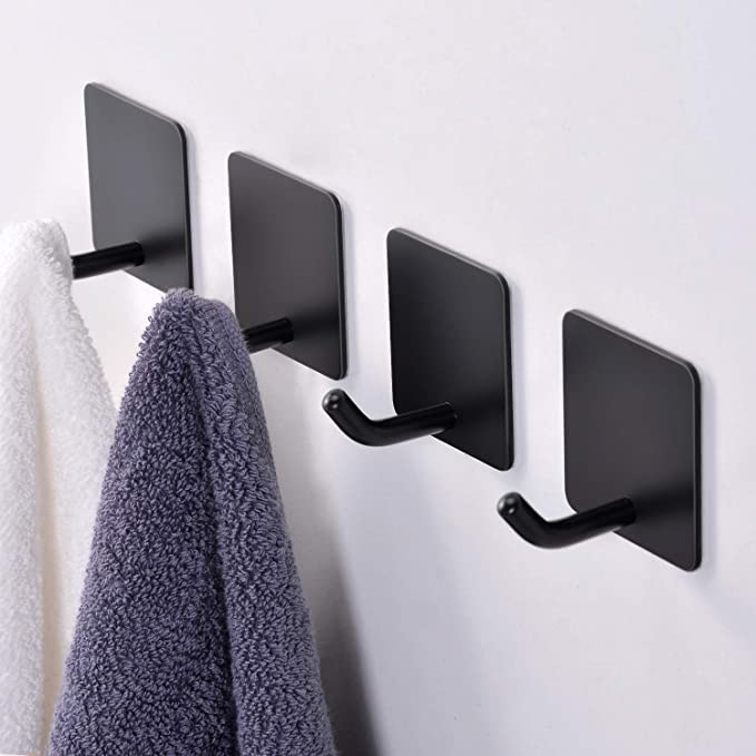 Fle Black Adhesive Hooks Towel Hooks Self Adhesive Hooks Hanging Keys Stick On Wall For Kitchen Bathroom Stainless Steel 4 Packs Home Kitchen