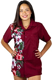 b422a66f6b3cc V.H.O Funky Hawaiian Blouse Women Short-Sleeve Front-Pocket Wedding Flowers  Multiple Colors …