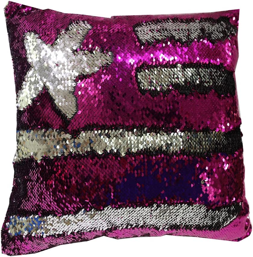 TRLYC 18 X 18 -Inch Sparkly Sequin Pillow Reversible Sequin Mermaid Star Pillowcase Cushion Cover Fushia and Silver Insert not Included