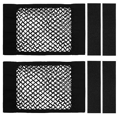 Kbnian Trunk Storage Net,Car Trunk Back Seat Organizer, Mesh Wall Sticker Organizer Pouch Bag(2 Pack) Black: Automotive