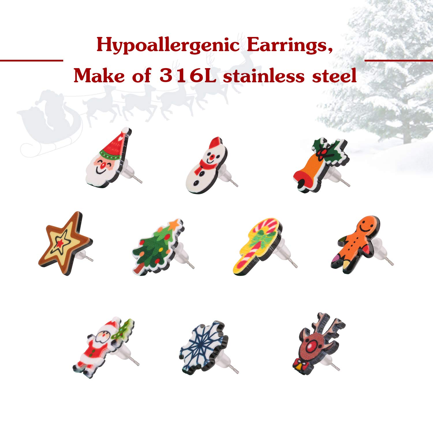 UHIBROS Christmas Stud Earrings 316L Stainless Steel Jewelry Hypoallergenic Cute Earring Set 10 Pairs (Multi-Color)