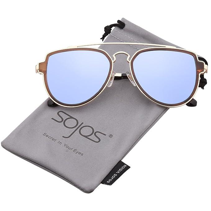 SojoS Retro Doppelte Metallbrücken Aviator Polarized Linse Sonnenbrille Unisex für Herren Damen SJ1051 mit Schwarz Rahmen/Grau Polarized Linse SCzfOiap