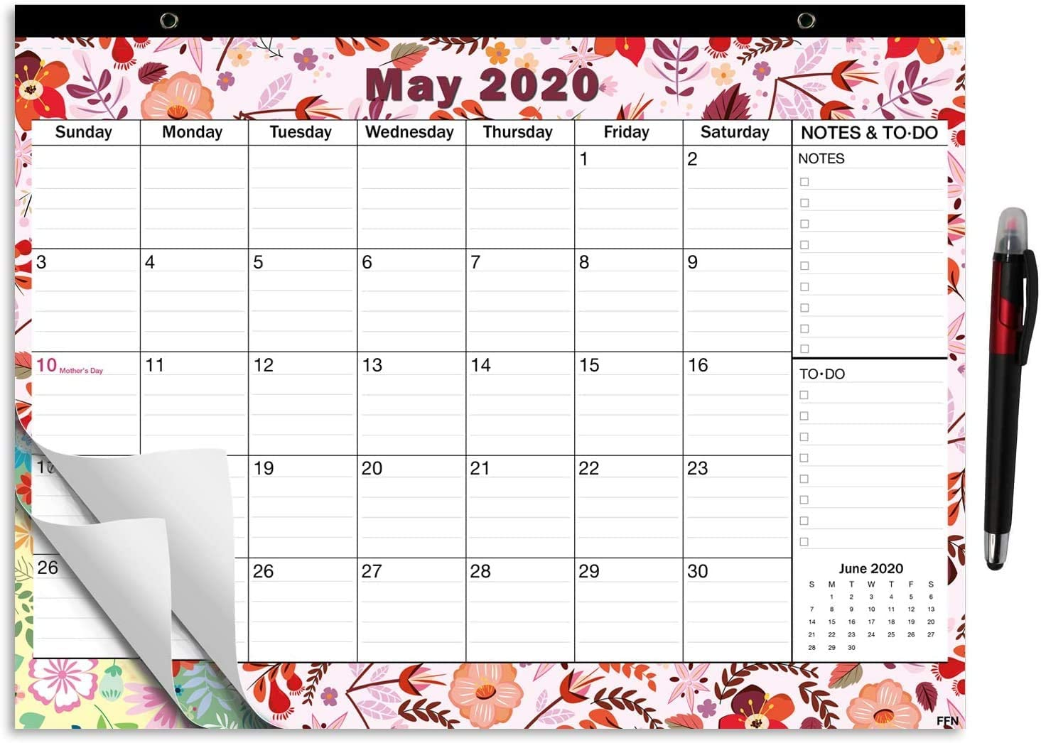 2020-2021 Large Monthly Desk Pad Calendar Planner Academic, Floral Design with Magnets for Fridge, Desktop January 2020 to June 2021 Wall Calendar 17.3