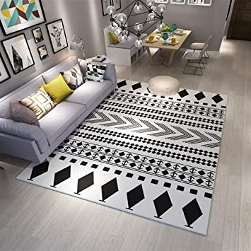 Moderne Warme Teppich Wohnzimmer Schlafzimmer Schwarz Und Weiß Quadrat  Rechteckige Rutschfeste Matte 120 * 160 Cm