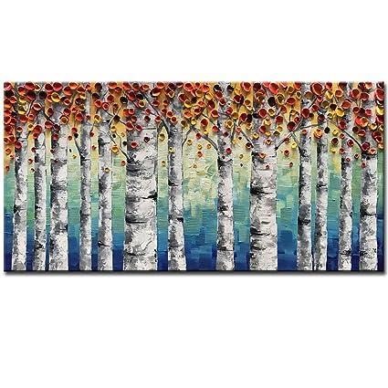 Amazon.com: Okbonn Orange Forest Oil Painting on Canvas Wall Art ...