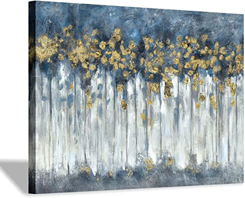 Abstract Birch Trees Picture Painting Heavy Textured Hand Painted Blue Grey Gold Foils Canvas Artwork Wall Art for Living Room 40 x30 x 1 Panel