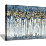 "Abstract Birch Trees Picture Painting: Heavy Textured Hand Painted Blue Grey Gold Foils Canvas Artwork Wall Art for Living Room (40"" x30'' x 1 Panel)"