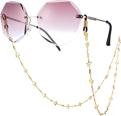 Amazon.com: TEAMER Fashion Five Pointed Star Eyeglass Chain Sunglass Strap  Gold Eyeglass Strap Holder Reading Glasses Strap for women (Black): Clothing