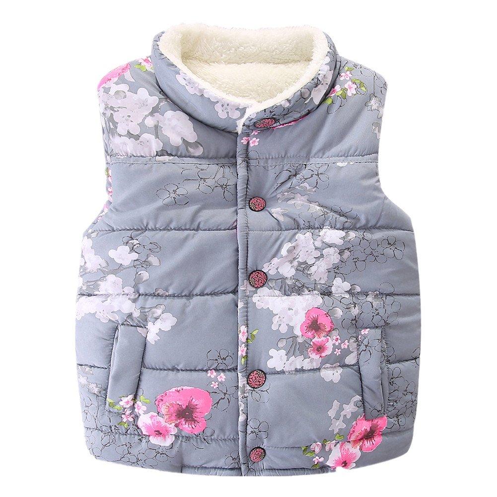 LittleSpring Little Girls' Vest Flower Buttons SLS-S0210