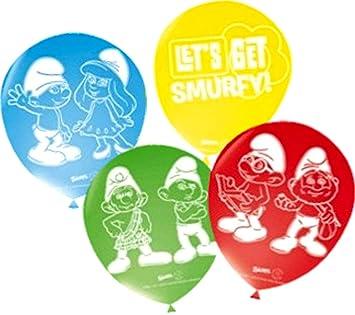 8 globos de colores infantil de cumpleaños de los Pitufos ...