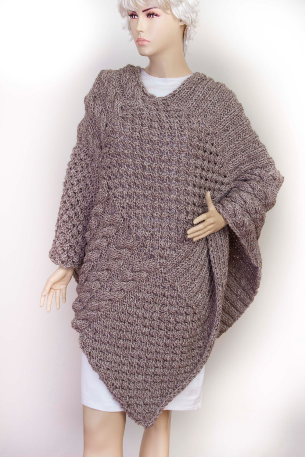 Amazon com: Knitted poncho, Cabled poncho, Chunky knit