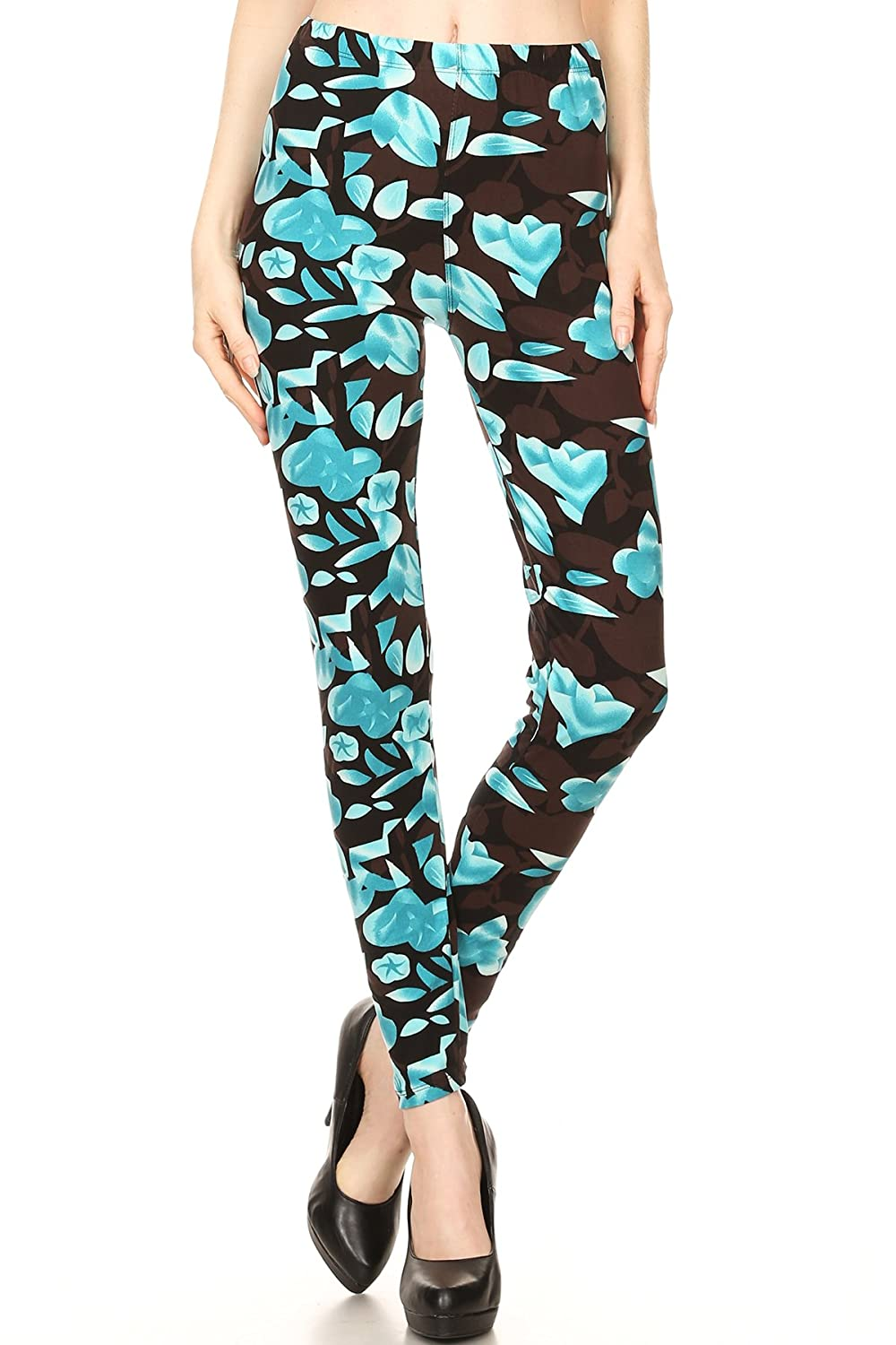 0bdfe04bcc 92% Polyester/8% Spandex Imported Abstract blue flower pattern printed  leggings for regular size. Comfortable elastic waist band.