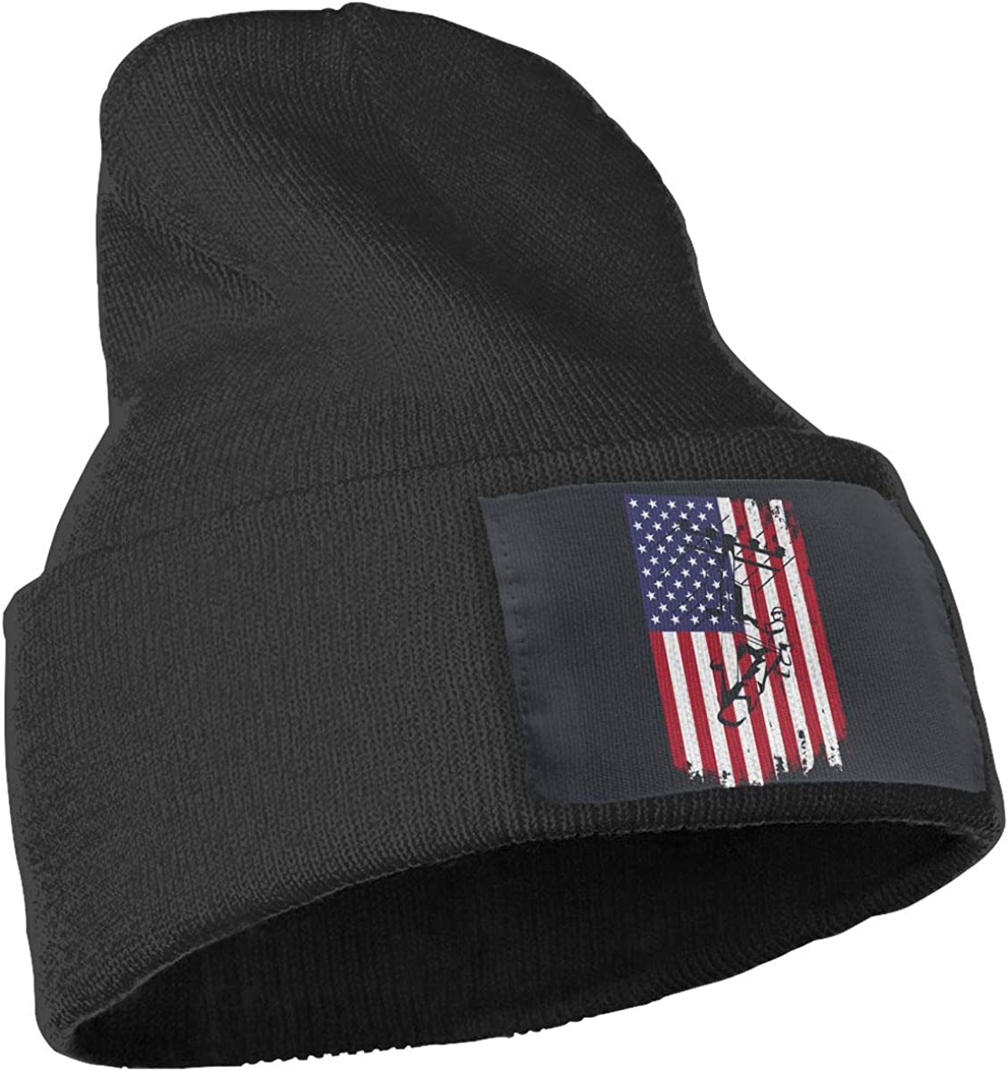 COLLJL-8 Unisex Lineman American Flag Outdoor Fashion Knit Beanies Hat Soft Winter Skull Caps