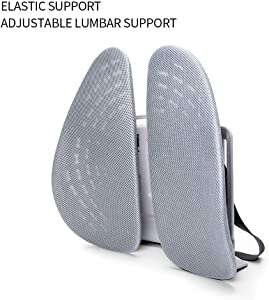 miekze Lumbar Support, Adjustable Backrest 3D Mesh Breathable Ergonomic Back Support Lumbar Pillow for Computer/Office Chair, Car Seat etc. (Grey)
