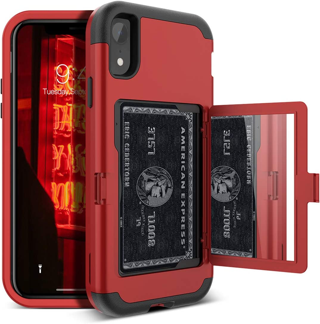 iPhone XR Wallet Case - WeLoveCase Defender Wallet Design with Card Holder and Hidden Back Mirror Three Layer Heavy Duty Protection Shockproof All-Round Armor Protective Case for iPhone XR - Red