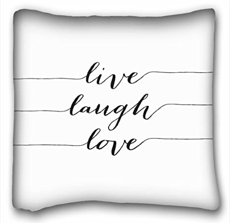 Amazon Com Tarolo Modern Black Quote Elegant Font Live Laugh Love Pillow Inspirational Quote Pillow Cover Square Throw Pillow Case Cover Size 20x20 Inches 50x50cm One Sided Print Home Kitchen