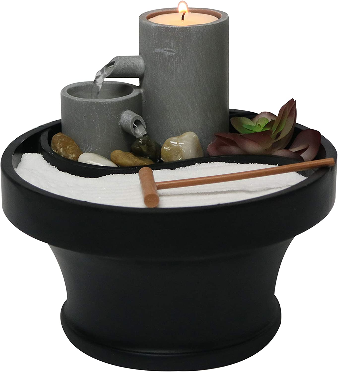 """Nature's Mark Relaxation Indoor Tabletop Water Fountain Zen Garden Combo Décor with Tealight Candle Holder and Accessories (6""""H x 7""""D) (Candle Not Included)"""