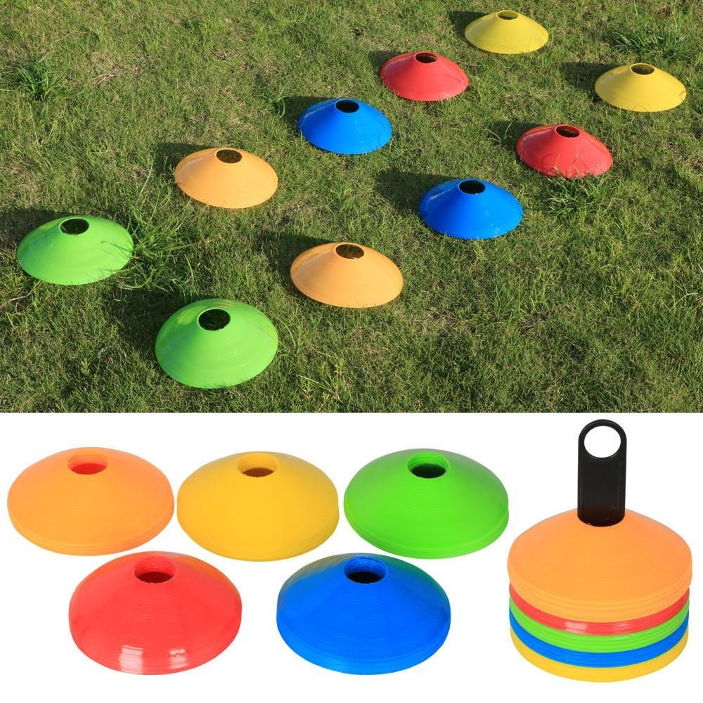Yaheetech 50 x Markierteller Markierungsscheiben Kegel für Fußball mit Halterung 20cm in 5 Verschiedene Farben