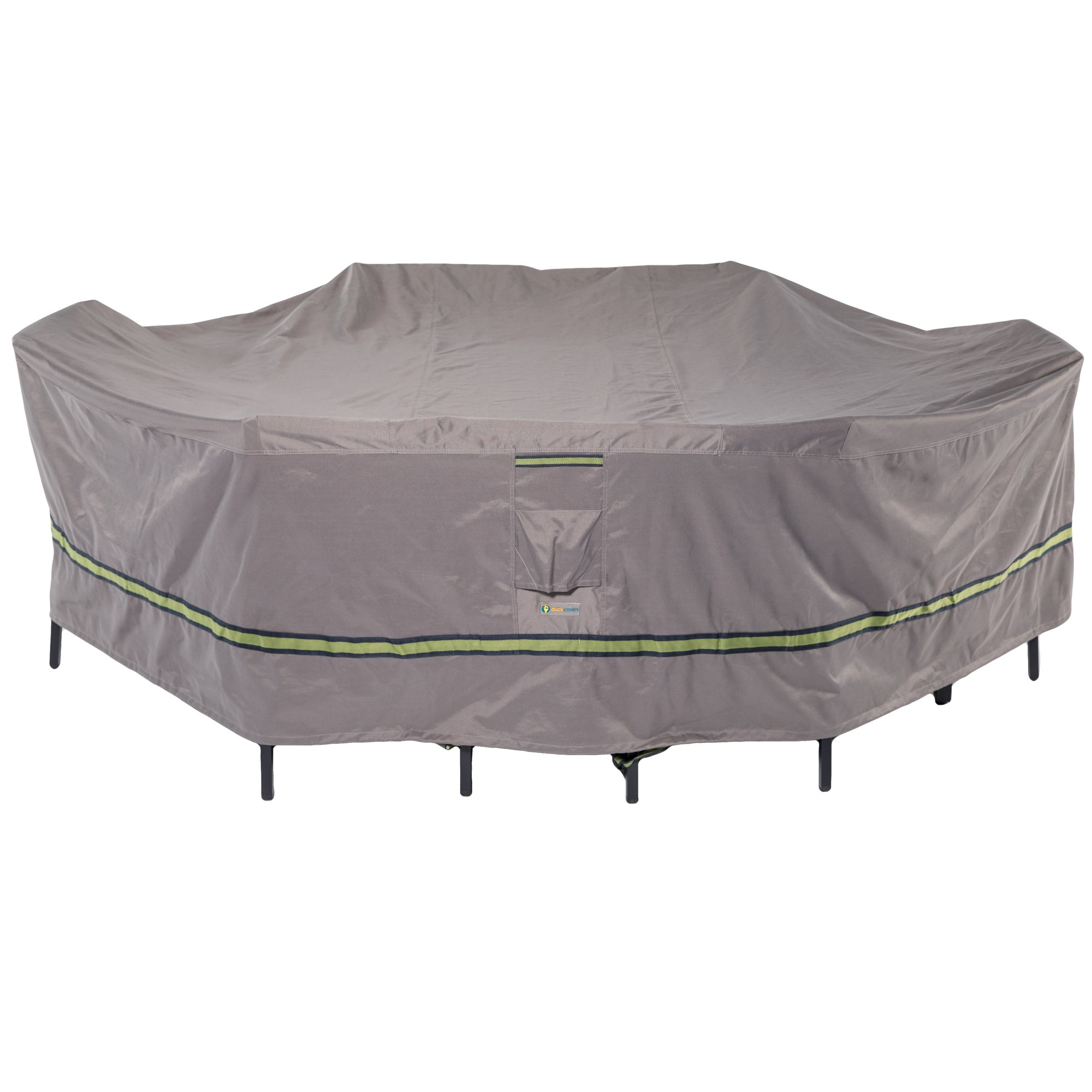 Duck Covers Soteria Rainproof 140'' Long Rectangular/Oval Patio Table with Chairs Cover
