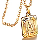 FOCALOOK Initial Necklaces Square/Hexagon Shaped Momogram Charms 18K Yellow Gold/White Plated Alphabet Pendant Necklace…