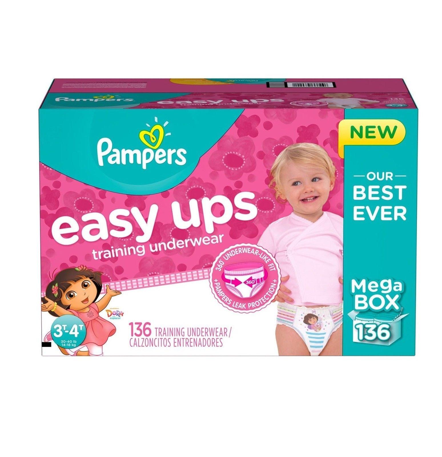 Pampers Easy Ups Training Underwear for Girls, Dora the Explorer (3T-4T, 136-Pack)
