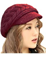 Aweids Lady's Fashion Warm Knit Beanie Hat Crochet Warm Brim Hats