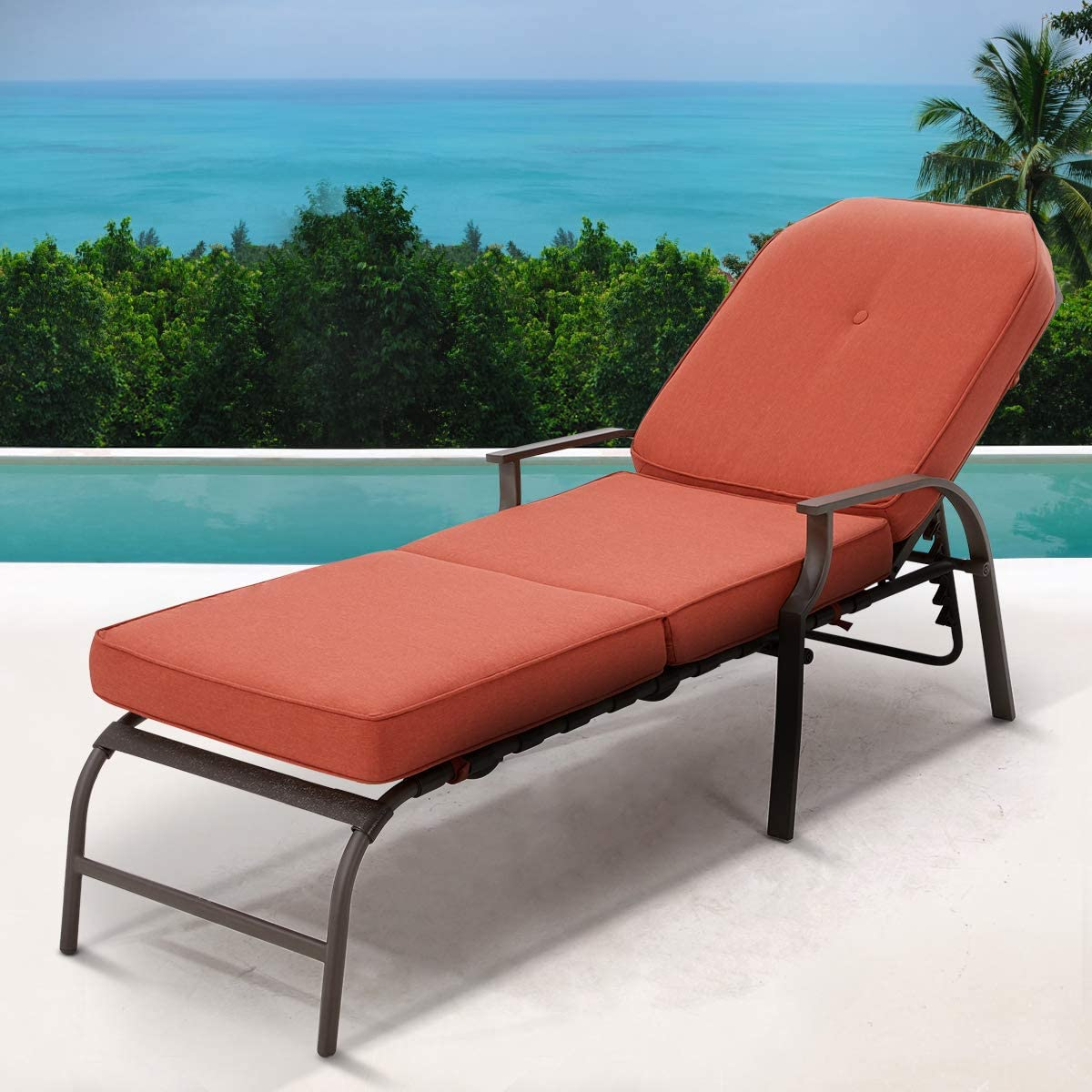 U-MAX Adjustable Outdoor Chaise Lounge Chair Patio Lounge Chair Recliner Furniture with Armrest and Cushion for Deck, Poolside, Backyard Orange