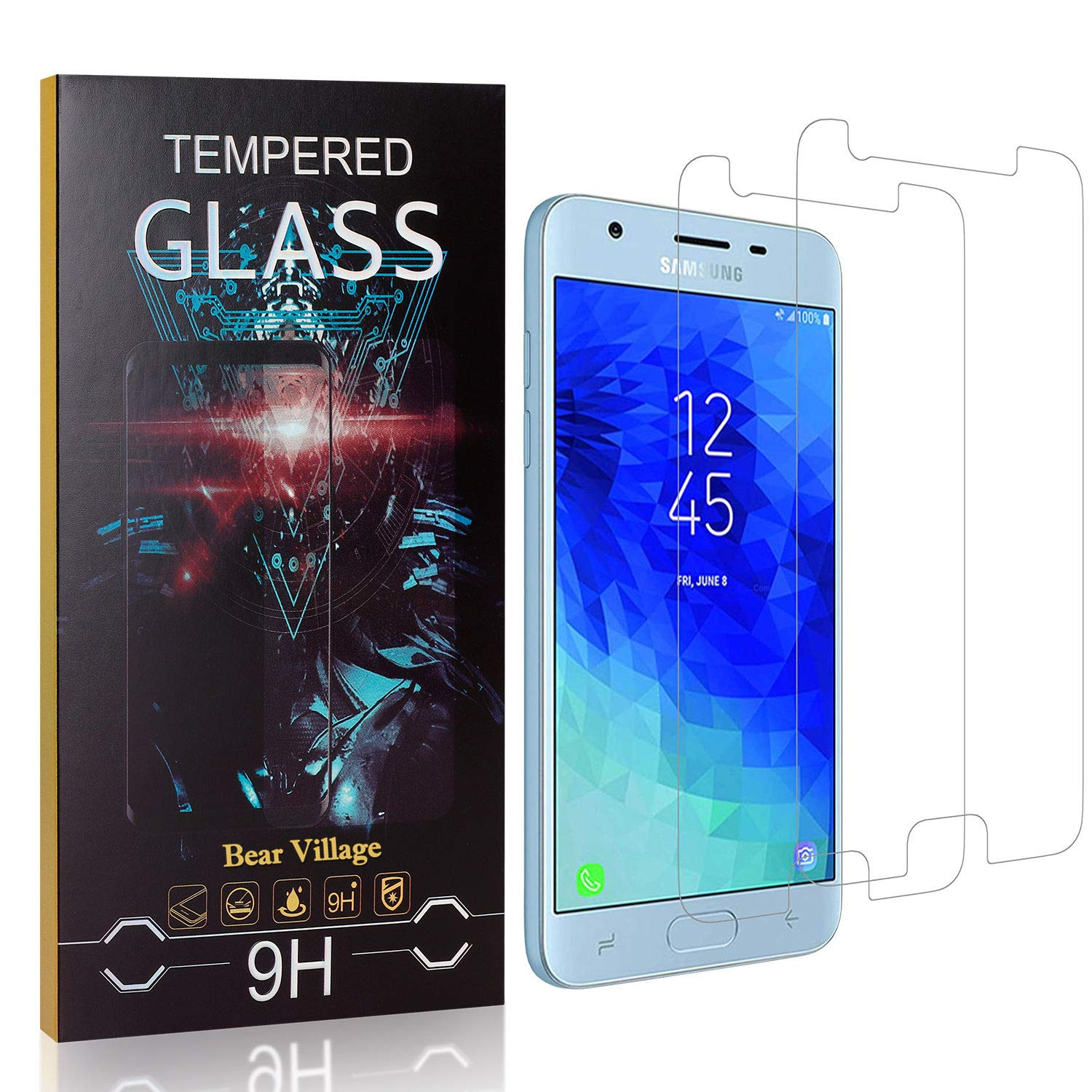 99.99/% Clarity Bear Village 9H Hardness Bubble Free Tempered Glass Screen Protector Film for Samsung Galaxy J3 2018 2 Pack Screen Protector for Galaxy J3 2018